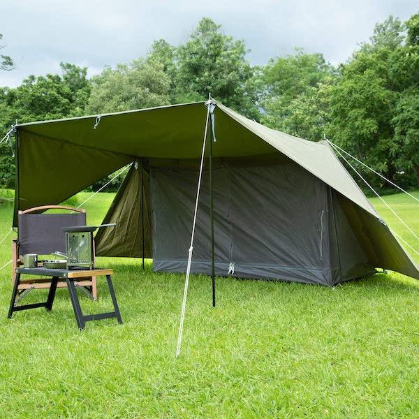 パップテントは軽量で雨に強い無骨なテント